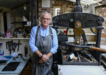 © Tony Bartholomew/Turnstone Media    Printmaker Michael Atkin photographed in his studio where he is producing a limited edition book , 'Amp Alphabet  of Scarborough'.