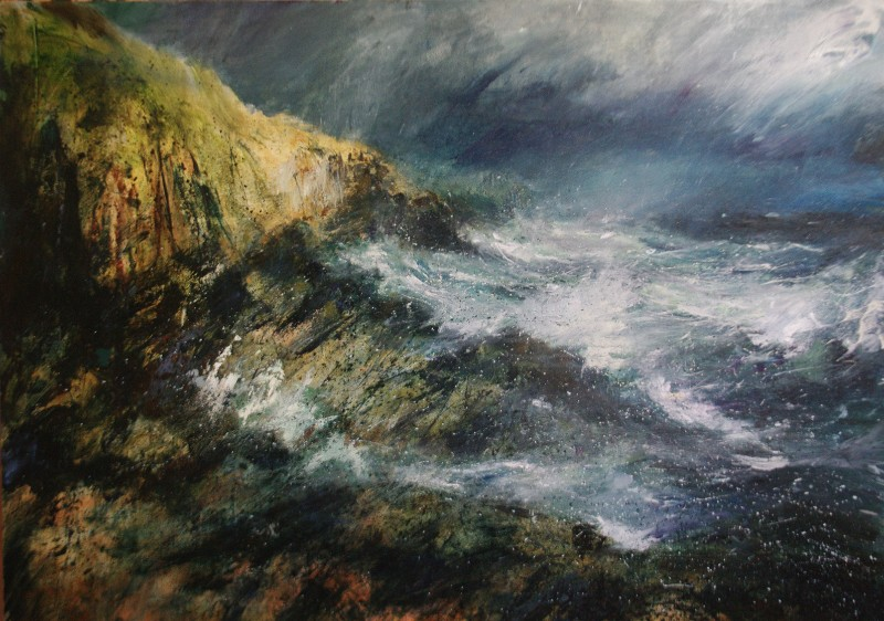 Jim wright storm at farr bay Painting North Yorkshire Open Studios