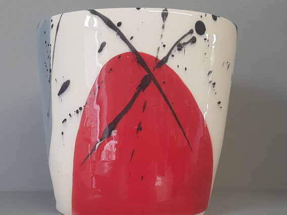 Red grey oval vessel